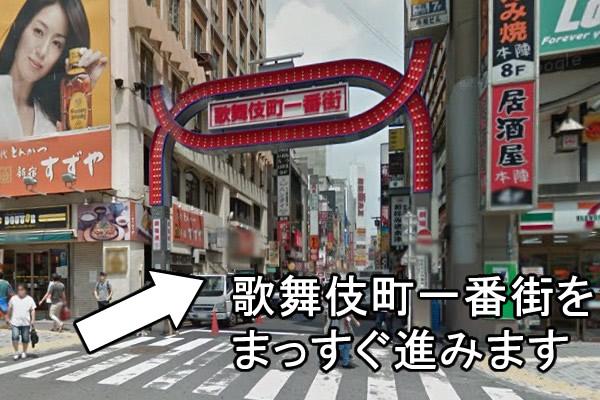 歌舞伎町一番街のアーケードをくぐり、まっすぐ歩いていきます。